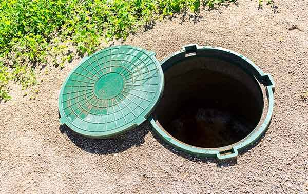 septic tank lid taken off ready for emptying